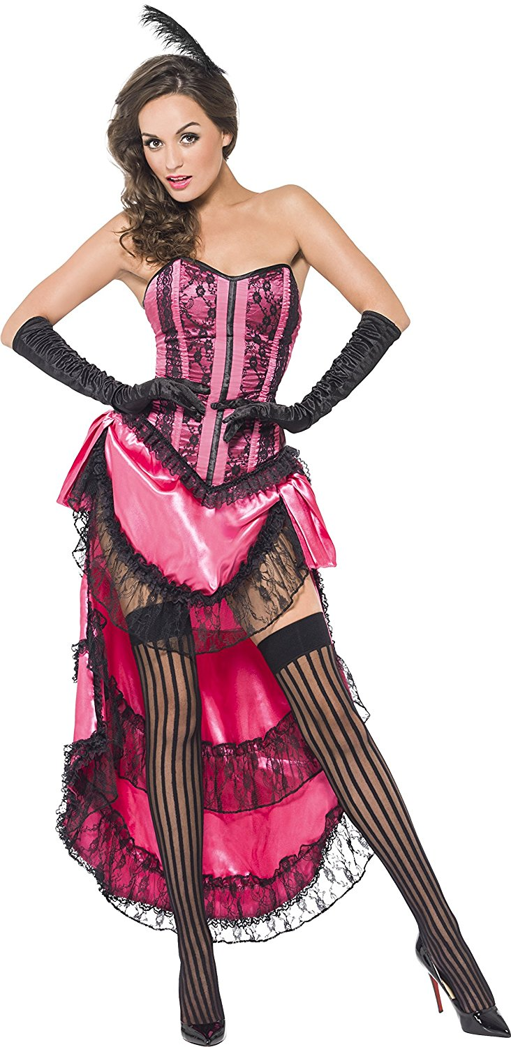 Can Can Dress Costume, Pink, Lace Up Corset