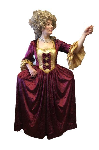 Burgundy and Gold Georgian Dress Ball Gown 16-18
