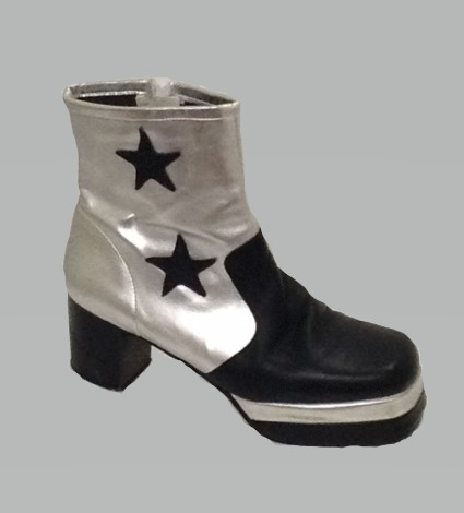 70s Silver and Black Mens Platform Boots