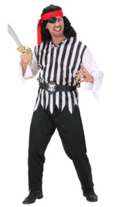 Stripey Swashbuckling Pirate Fancy Dress Male Costume
