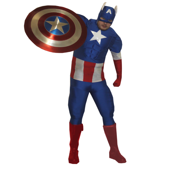 Adult Deluxe Captain America Costume Superhero Fancy Dress