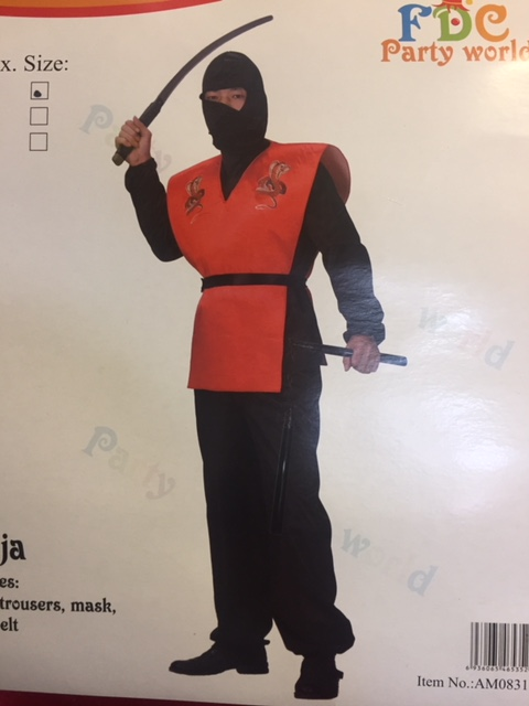 Adult Japanese Black and Red Cobra Ninja Costume