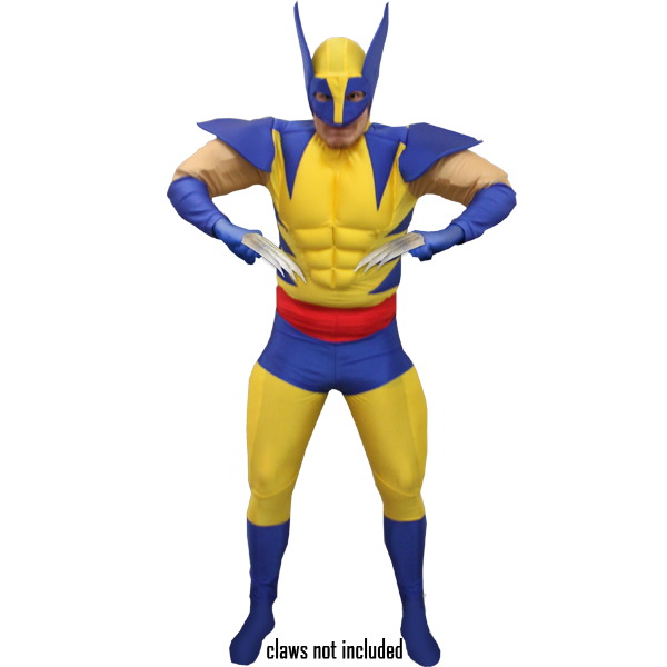Adult Deluxe Wolverine Costume Superhero Fancy Dress
