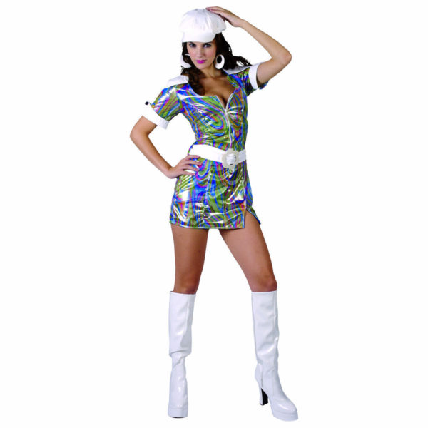 Womens Disco Outfit Psychedelic Diva Dress Groovy Baby