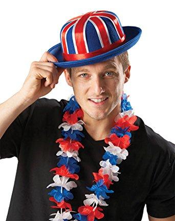 British Flag Union Jack Bowler Hat Felt & Ribbon