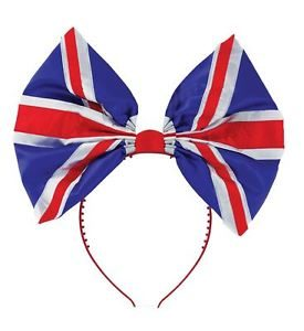 Union Jack Large Bow Headband Great Britain Fancy Dress