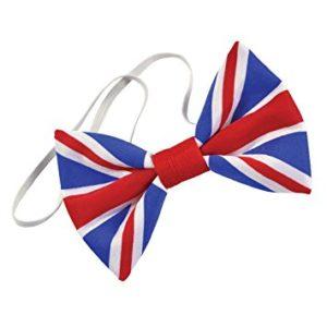 Union Jack Bow Tie Pre-Tied Cloth with Elastic Strap