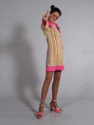 Bright, Beautiful Striped Swinging 60s Twiggy Fancy Dress Costume