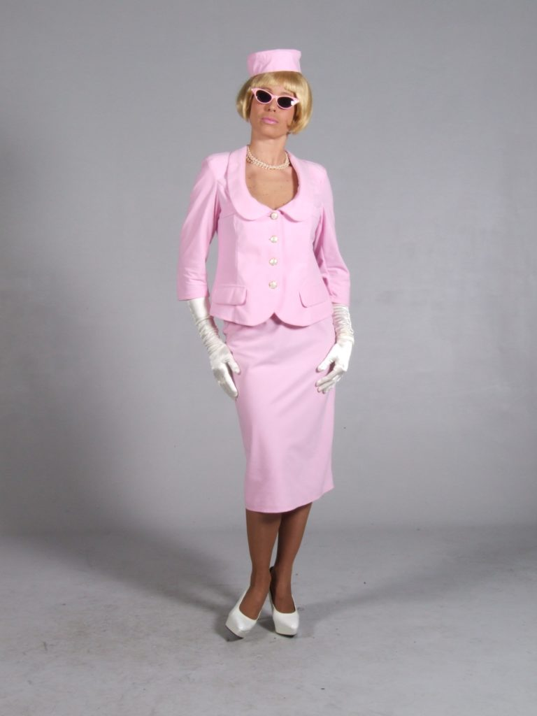 Jackie Onassis Costume 60s Pink Suit Fancy Dress 10 - 12 -