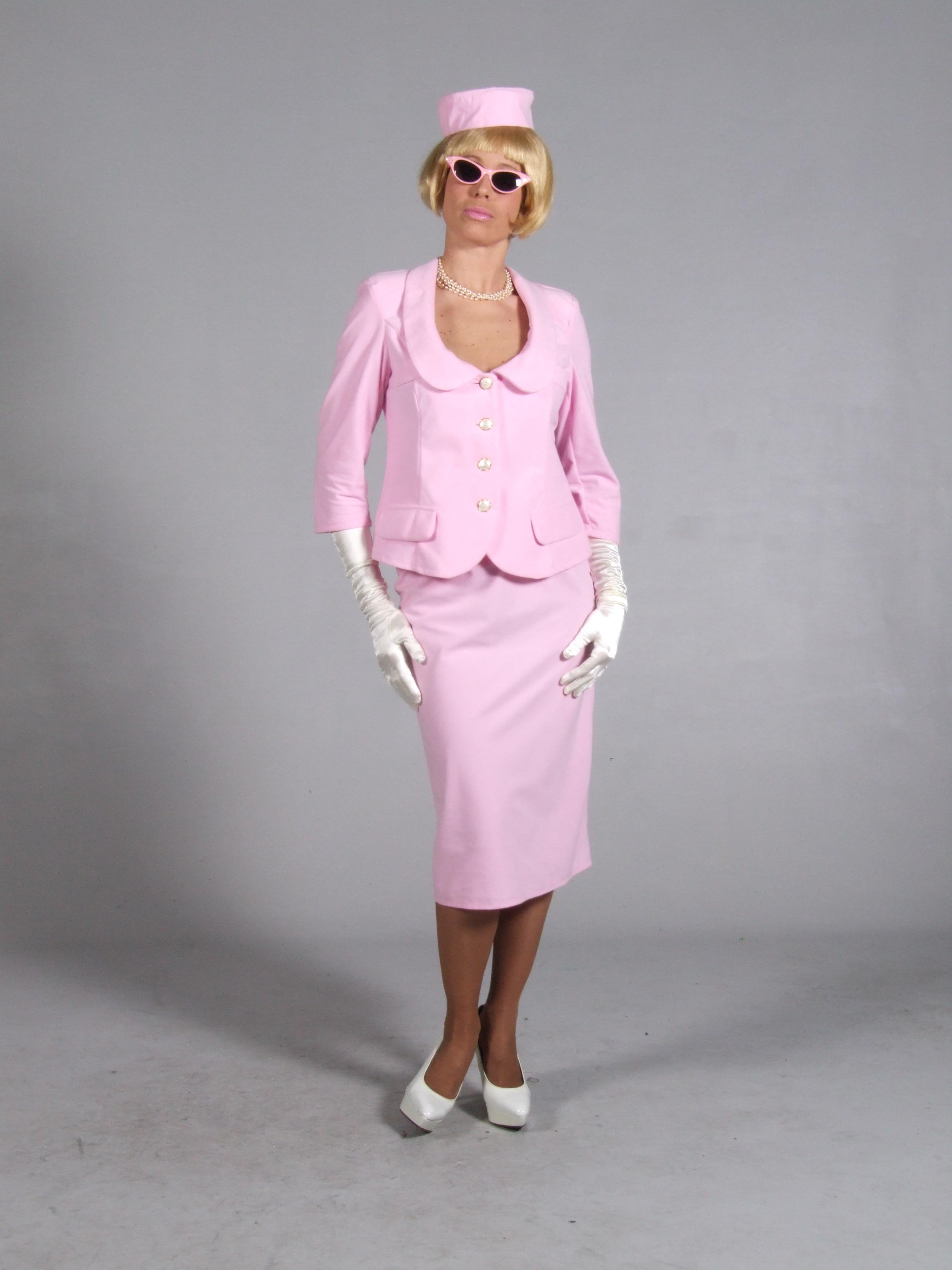 Jackie Onassis Costume 60s Pink Suit Fancy Dress 10 - 12