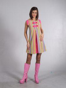 60s Swinging London Groovy Striped Mini Dress Costume 6 - 8
