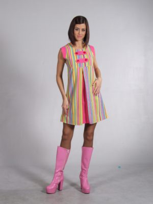 60s Swinging London Groovy Striped Mini Dress Costume 6 - 8