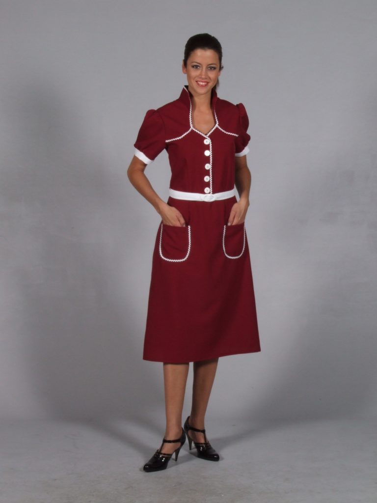 Burgundy 40s Dress with White Belt and Ric Rac Trim 14/16
