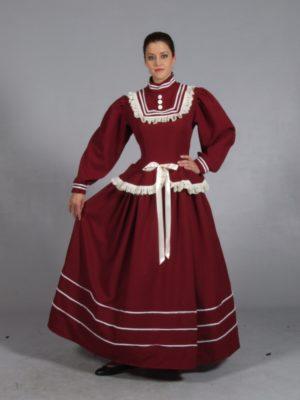 Burgundy Victorian Dress, Victorian Lady Fancy Dress Costume
