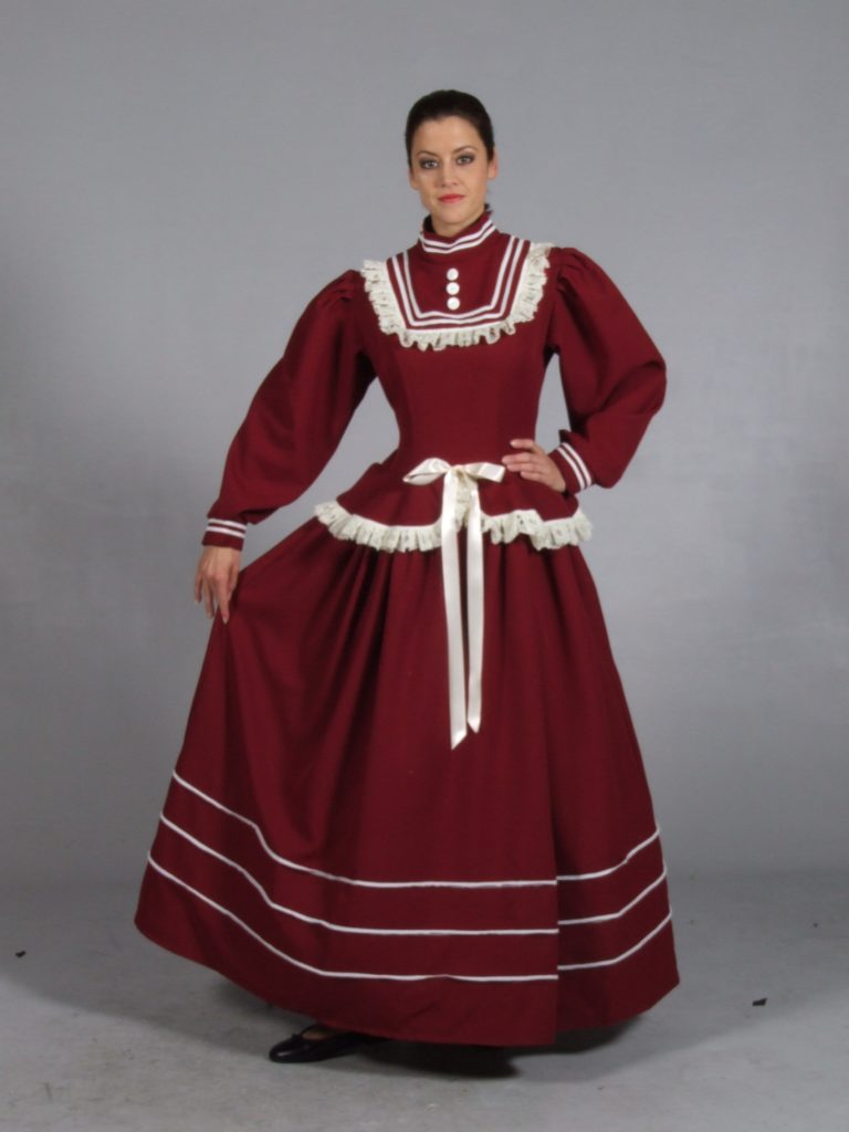 Burgundy Victorian Dress, Victorian Lady Fancy Dress Costume