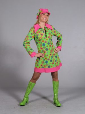 60s Bright and Funky Flower Power Hippy Dress with Pink Collar