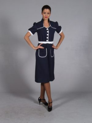 Navy 40s Dress with White Belt and Ric Rac Trim 16/18