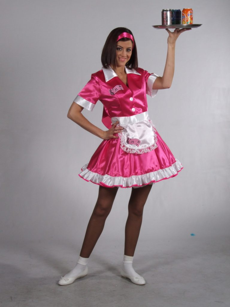 50s Waitress Fancy Dress Costume Pink Diner Dress