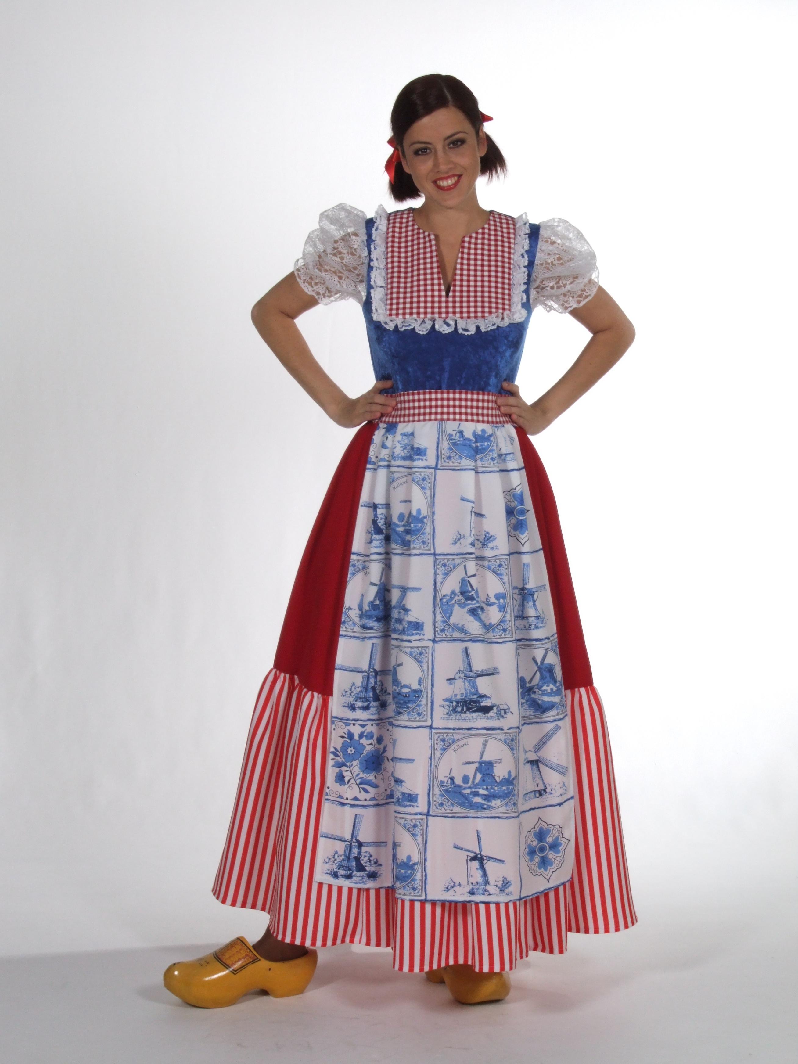 Delft Dutch Dress Costume, Holland Eurovision Fancy Dress Costume