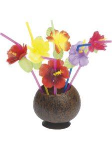 Hawaiian Straws, Mixed Hibiscus Flowers, 12 Straws