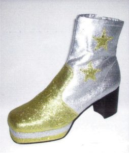 70s Disco Glitter Gold and Silver Mens Platform Boots
