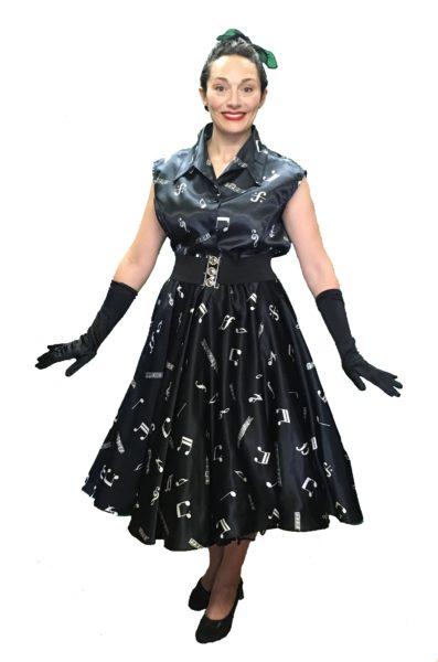 Black White Notes Ladies 1950s Style Dress Set 18-20