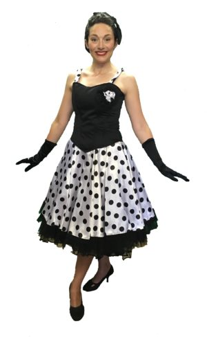 Black Corset White Polka Dot 1950s Skirt Set 10-12