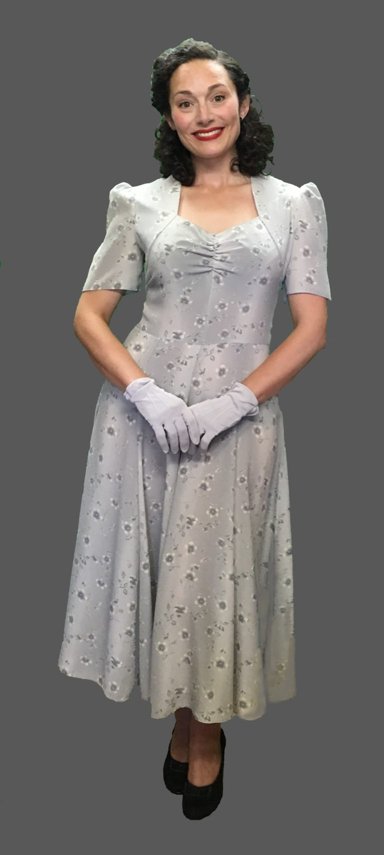 1940s Dress Dove Grey Wartime Tea Dress 10-12