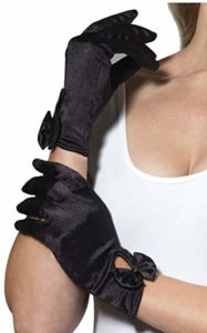 Elegant 1940s style Black Satin Gloves with Bow