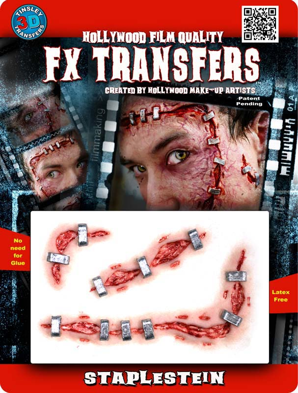 Staple Scar Special Effects Wound Transfer Makeup Kit for Halloween Horror