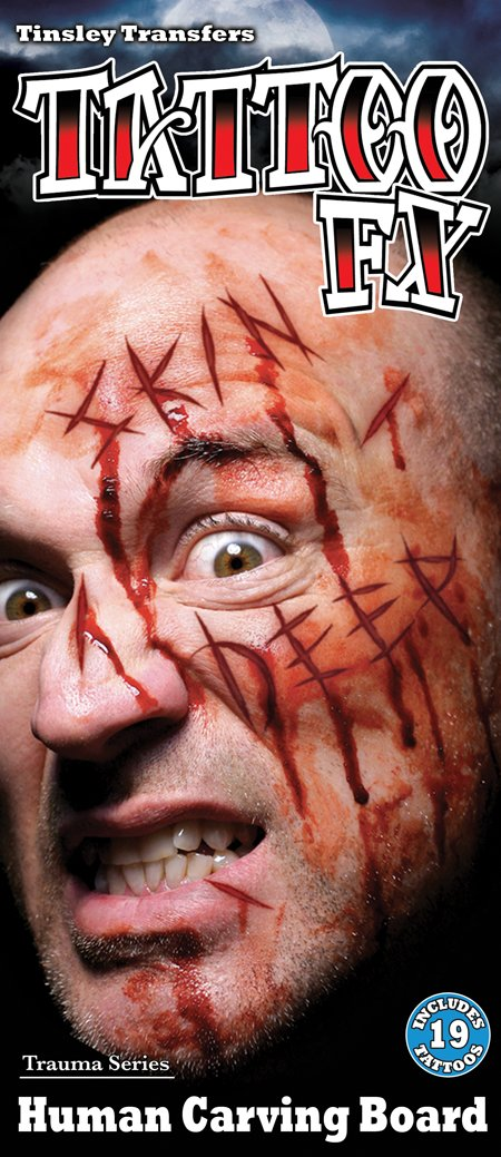 Human Carving Board Face Slashed Words Special Effects Halloween Makeup
