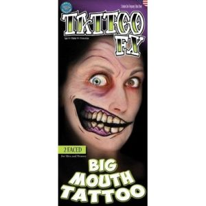 Scary Smile Tattoo 2 Faced Temporary Manic Grin Transfer for Halloween Horror