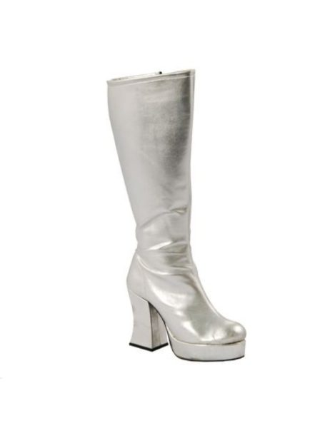 Silver Platform Boots Ladies 1970s Zip Up Long Boots