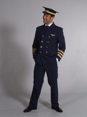 Mens Airline Pilot Costume XL Pilot Uniform Fancy Dress