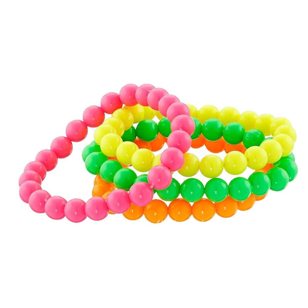 4 PACK NEON BEADS NECKLACE PINK ORANGE GREEN YELLOW 80S ACCESSORIES DISCO SET