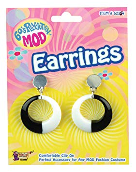 Large Black and White Earrings Mod, 60s Jewellery