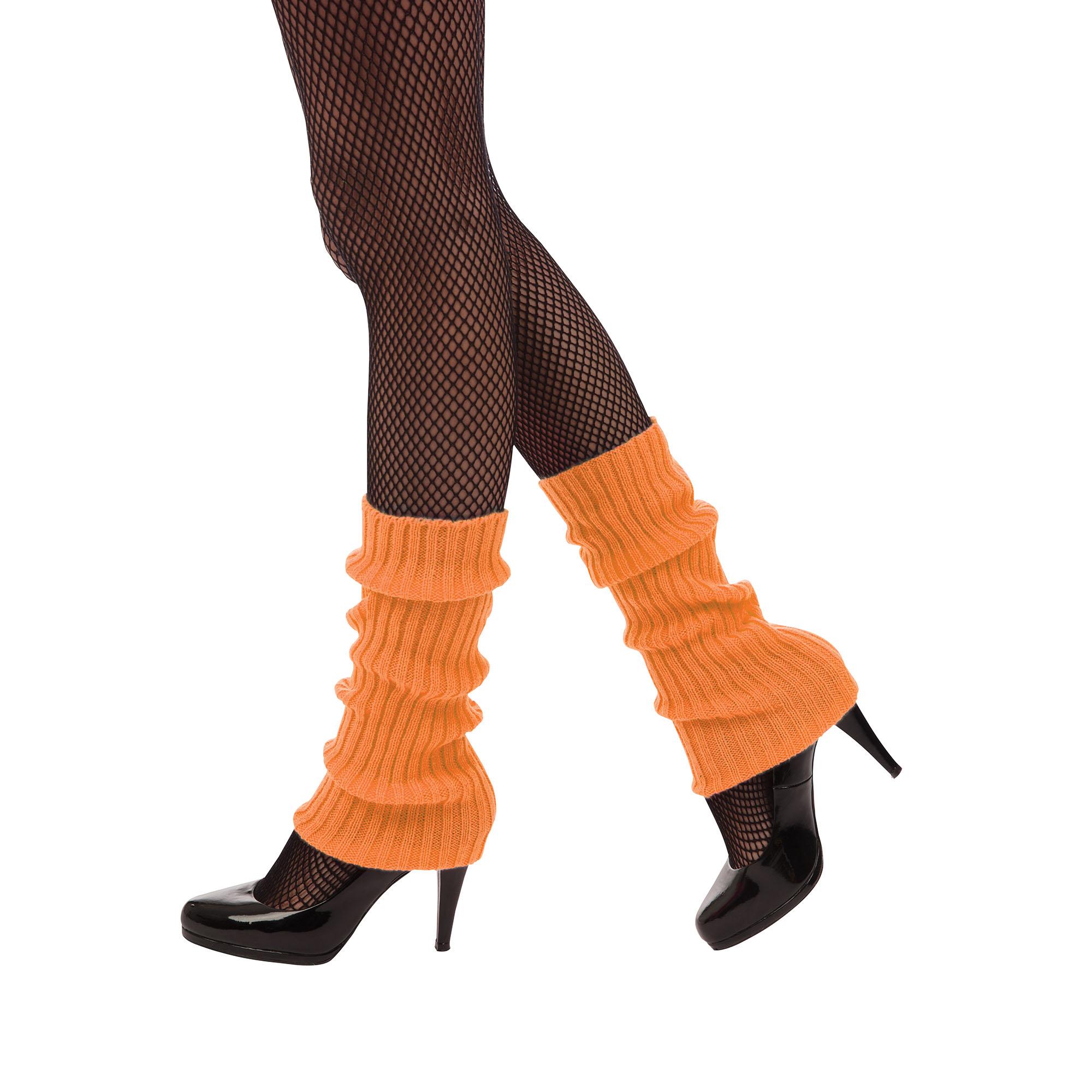 Neon Orange Leg Warmers 1980s Fancy Dress Accessory
