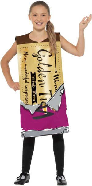 Golden Ticket Costume, Willy Wonka Fancy Dress Roald Dahl