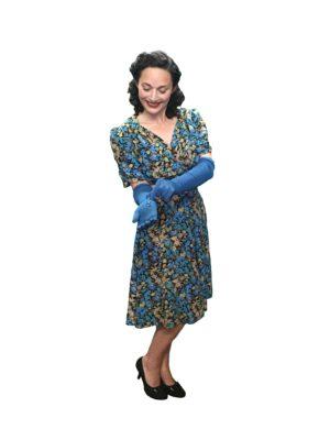 Tea Dress, Turquoise 40s Dress, Vintage Floral Print, sz 12