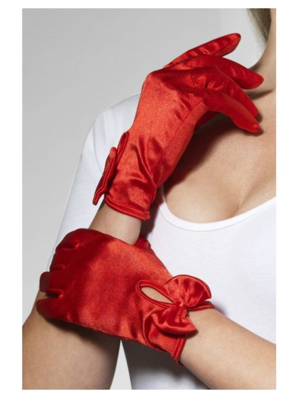 40s Gloves, 50s Gloves, Red Wrist Gloves with Bows