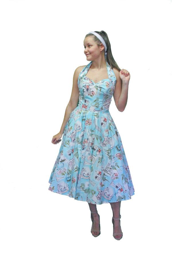 Swing Dress, Halter Neck 1950s Rockabilly Fashion Size 6-8