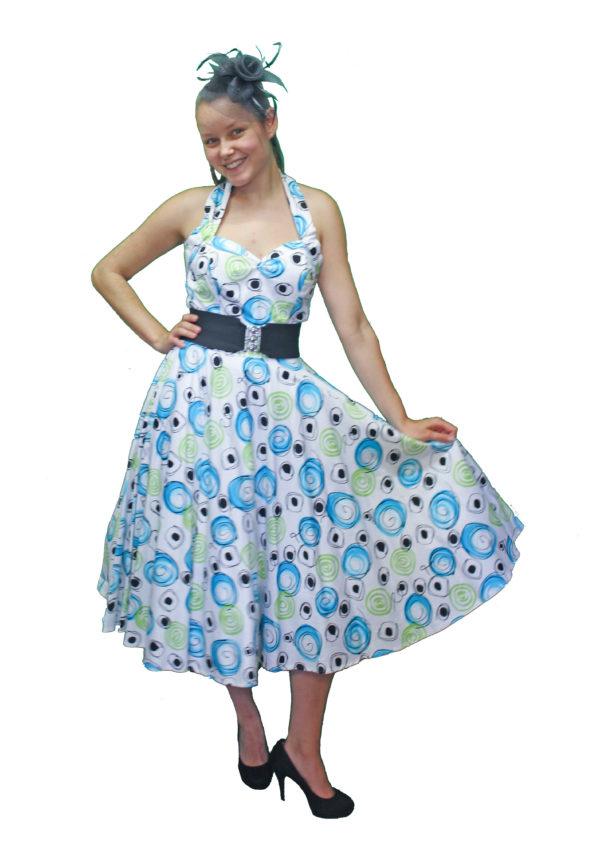 1950s Swing Dress, Halter Neck Style Swing Dress Size 10
