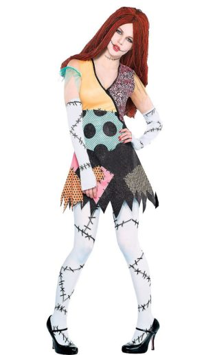 Sally Nightmare Before Christmas Dress, Wig, Gloves Set
