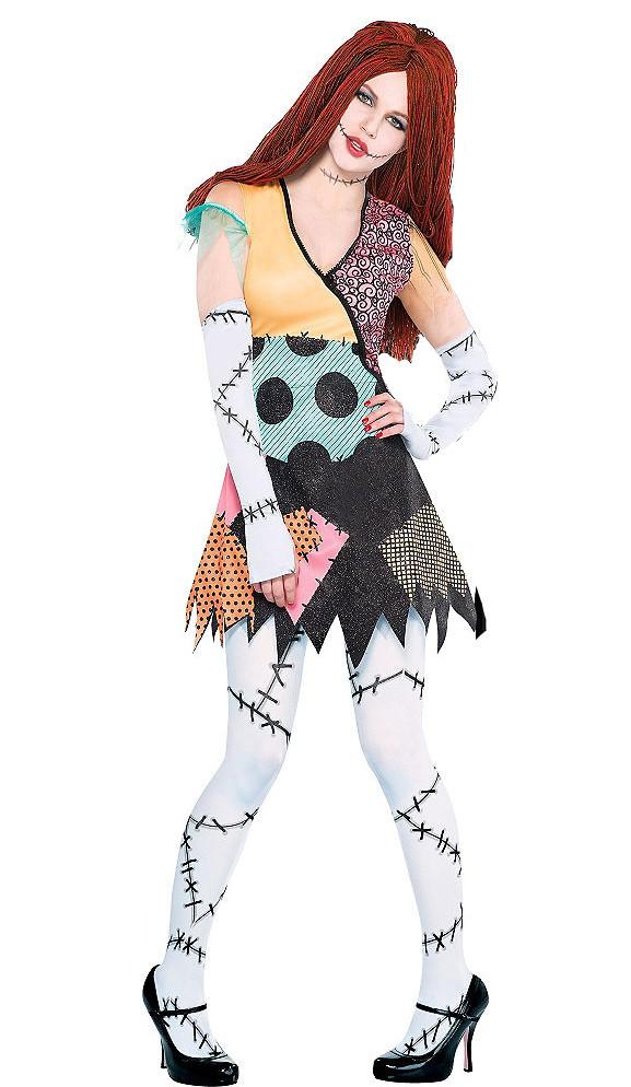 Sally Nightmare Before Christmas Dress, Wig, Gloves Set