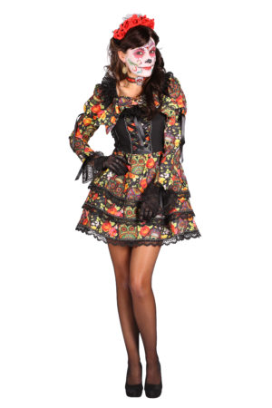 Womens Day of the Dead Costume, Sugar Skull Outfit
