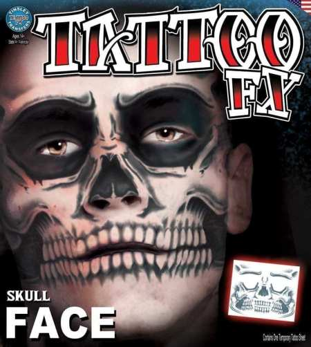 Skull Face Tattoo, Day of the Dead Makeup, Temporary Tattoo
