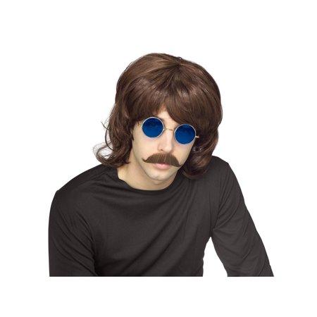 70s Male Wig, Bee Gees Wig, 70s Brown Mullet Wig