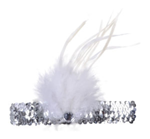 Silver flapper headband, silver sequin flapper headband with feather