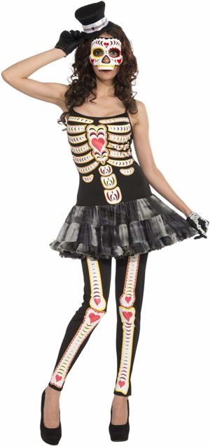 Day of the Dead Mexican Tutu Dress, Skeleton Halloween Fancy Dress Costume