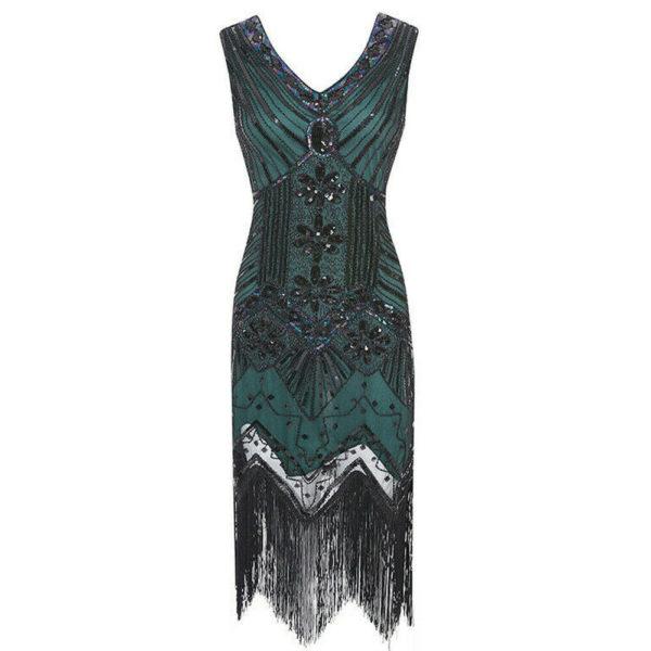 Great Gatsby Dress Green 1920s Flapper Dress Sequined